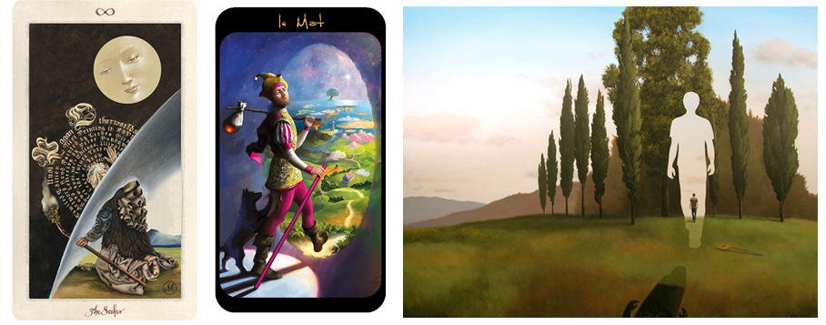 The Fool as Wanderer Between Worlds - left to right Pagan Otherworlds Tarot, Mon Tarot De Marseille by Tarotland, Threshold by Jim & Lynn Lemyre 2005.