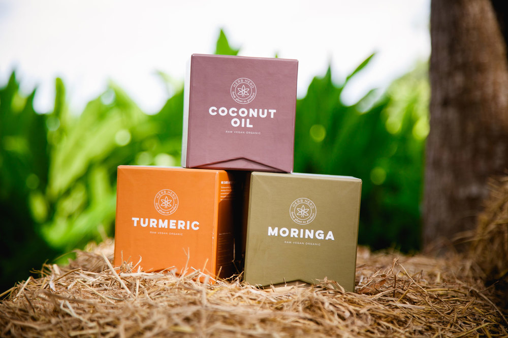 Herb Hero products - Moringa, Turmeric, Coconut oil