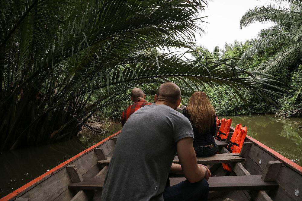 Herb Hero boat on Coconut plantation