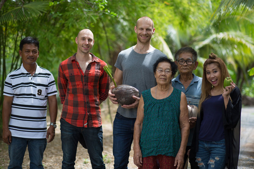 Herb Hero Team at coconut farm