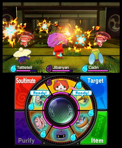 The Yo-Kai Watch battle interface