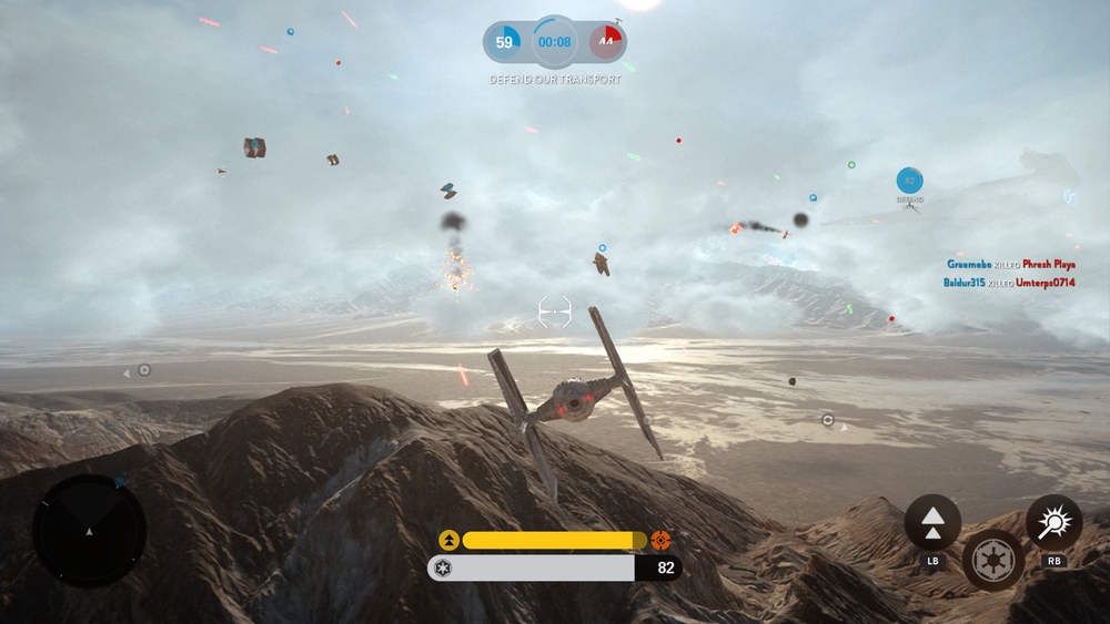 Actual in-game screenshot of Fighter Squadron mode.