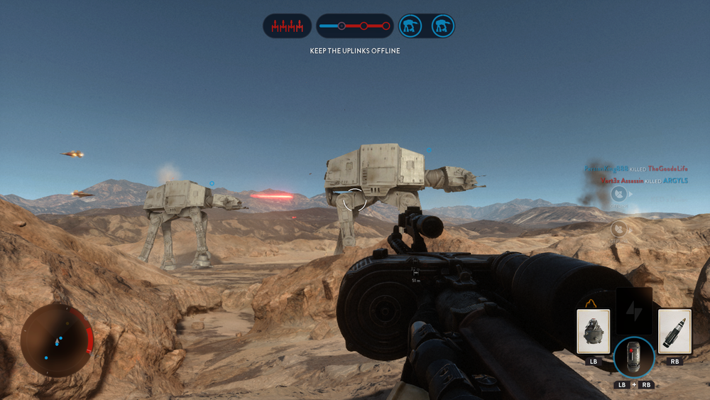 Playing Walker Assault mode, protect (or take down) those AT-ATs!!