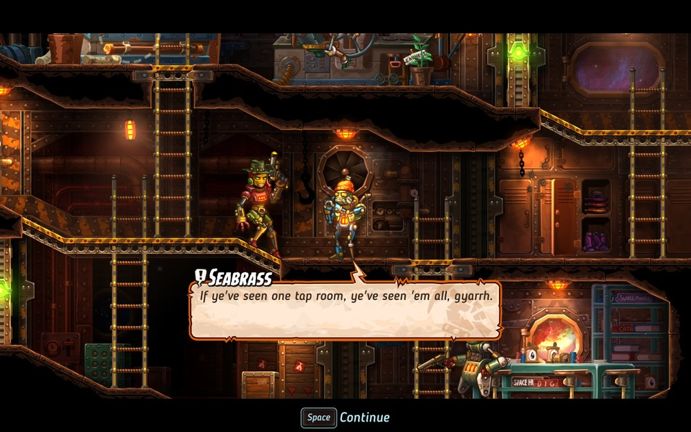 SteamWorld Heist has excellent dialogue and references SteamWorld Dig constantly.
