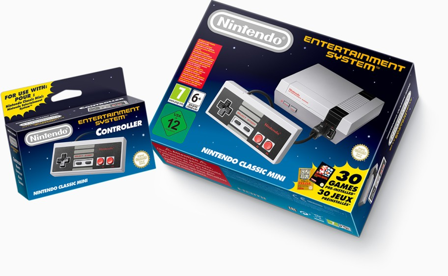 The Nintendo Classic Mini and extra controller (sold separately)