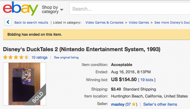 DuckTales 2 auction for Nintendo, ending at a very high price.