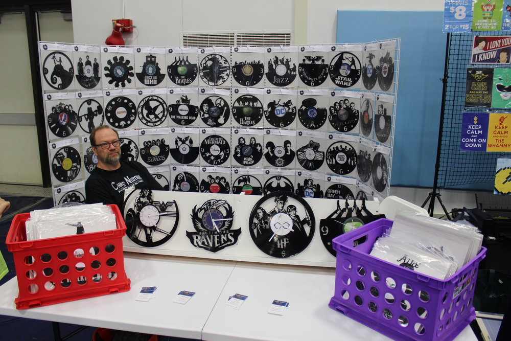 One of the coolest items was a vendor that made clocks by carving out vinyl records.