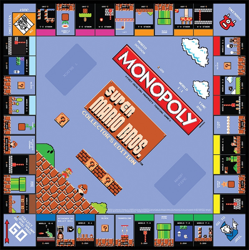The Super Mario Bros. Monopoly game board.