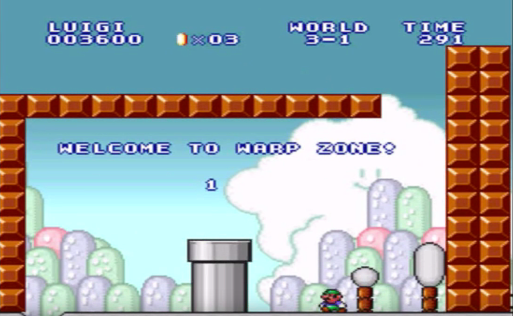 The infamous warp zone back to World 1. Luckily, the developers were nice enough to place that pit on the left for Mario or Luigi to fall into.