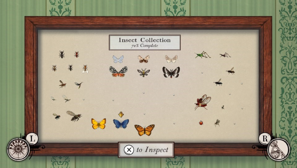 Exploration of the games many locations among different times and weather conditions will help the player reach 100% completion of the insect collection.
