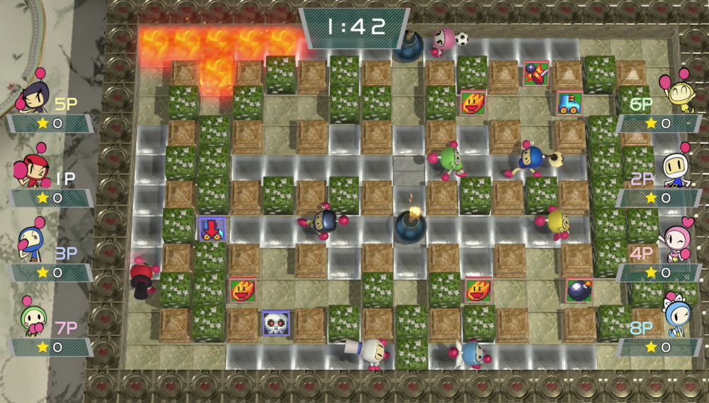 Play an 8-player match of Super Bomberman R locally or online!