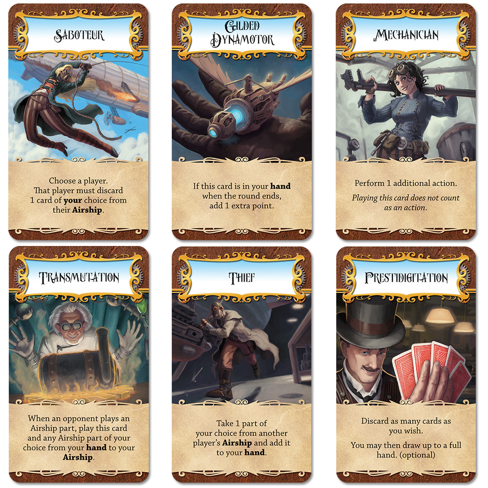 The cards for the game stay true to the Steampunk theme.