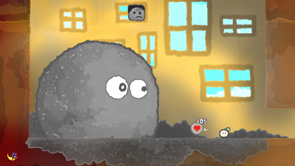 Cute and clever enemies include this ball of dust that plagues the 5th floor of the wumhouse!