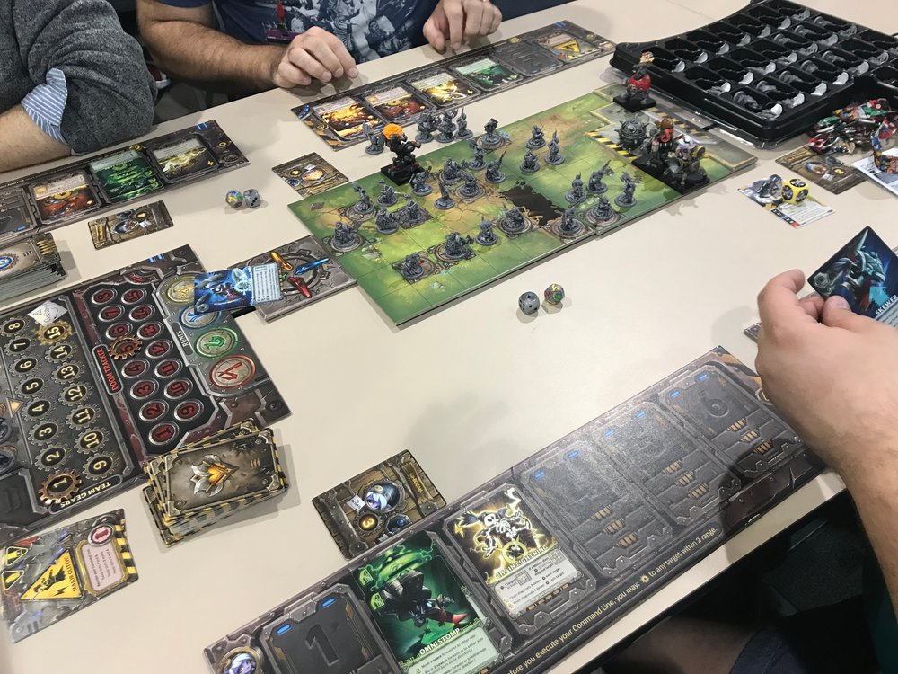 Playing Mechs vs. Minions at PAX Unplugged 2017.