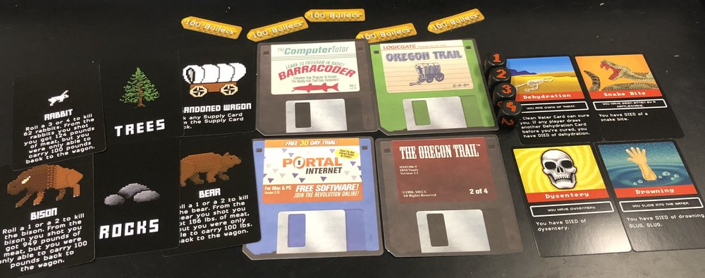 Several of the components inside the game. Note the 4 retro cardboard diskette coasters.