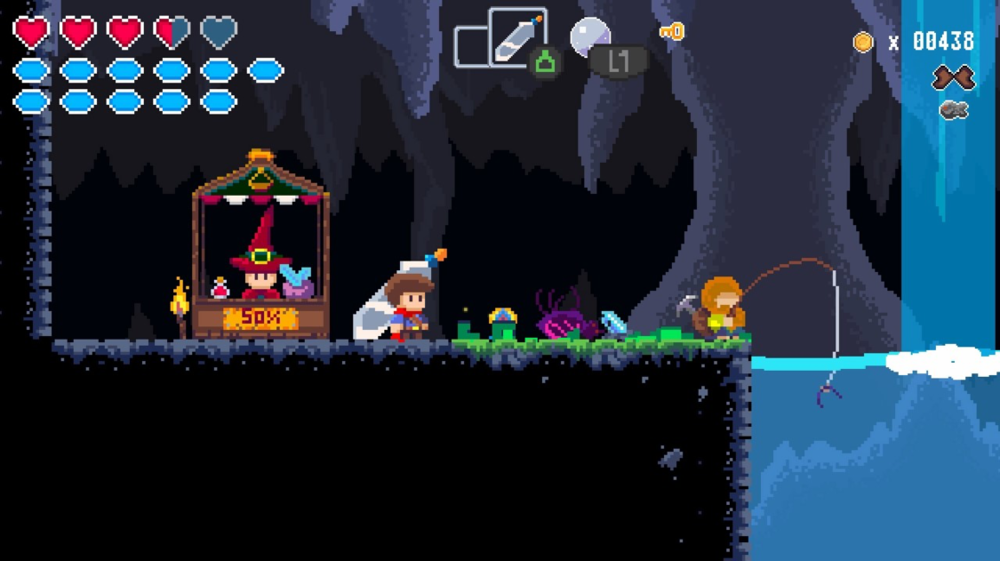 While the visuals work, JackQuest has little variety in terms of pixel art.