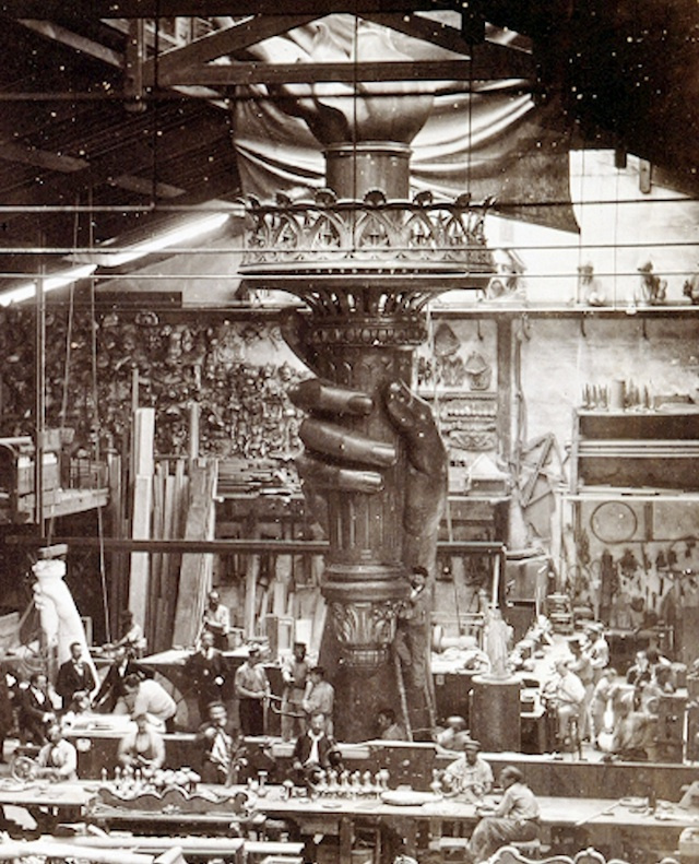 Statue of Liberty, Liberty Island, New York (Frédéric Bartholdi, 1876-1886) The torch-bearing arm was displayed at the Centennial Exposition in 1876 and in New York's Madison Square Park from 1876 to 1882