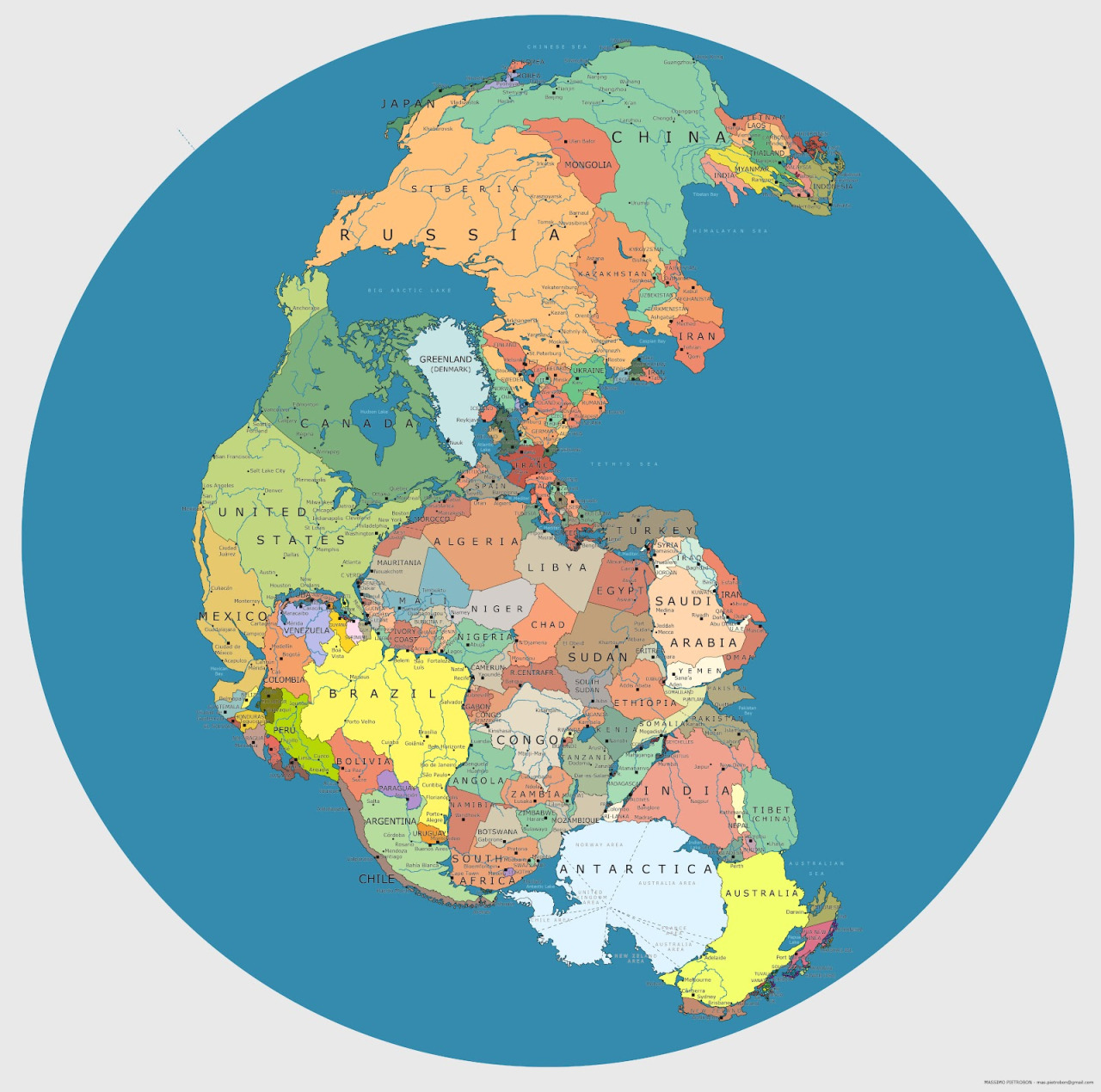 Political boundaries mapped onto Pangea           by  Massimo Pietrobon    http://capitan-mas-ideas.blogspot.com/2012/08/pangea-politica.html