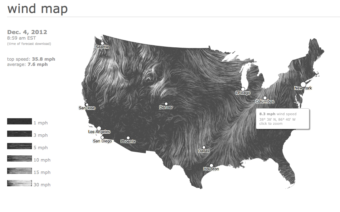 A visual map of the wind across the USA, in real time. http://hint.fm/wind/