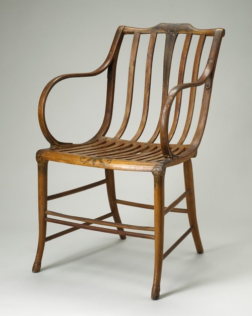 Elastic Armchair by Samuel Gragg (1772-1855)    Steam-bent wood construction, from about 1808, predates Michael Thonet by nearly 50 years.     http://nationalheritagemuseum.typepad.com/library_and_archives/2009/03/samuel-graggs-elastic-chairs.html