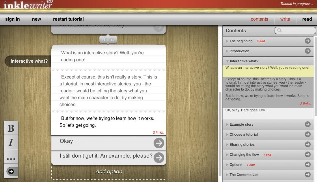 inklewriter helps writers tell interactive tales    www.inklestudios.com