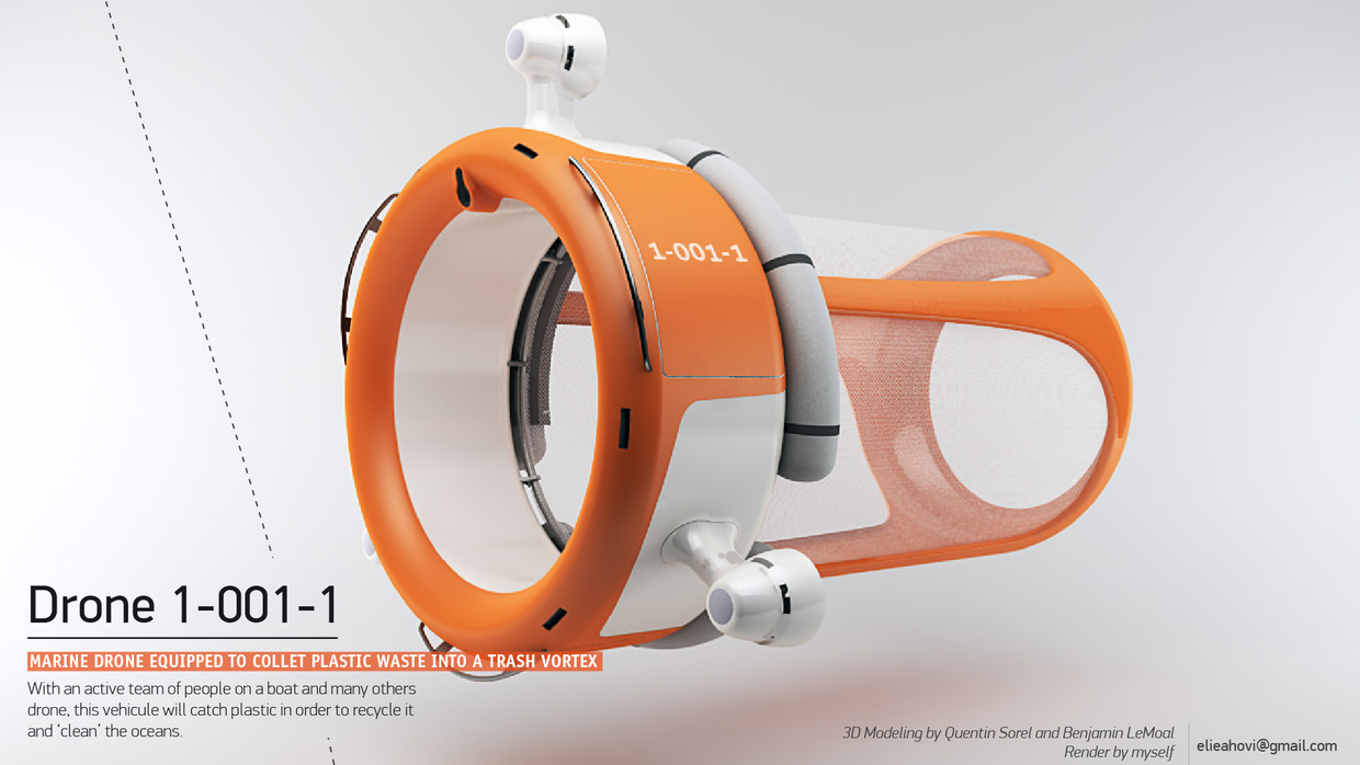 Marine Drone designed to clean the oceans of waste plastic, by Elie Ahovi.