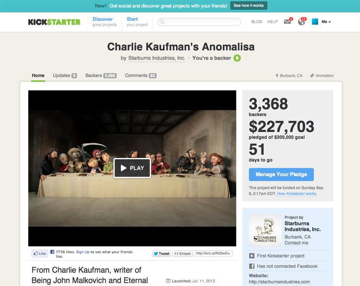 Anomalisa, a stop-motion animated film written buy Charlie Kaufman, writer of Being John Malkovich and Eternal Sunshine of the Spotless Mind.  Produced at Starburns Industries.  Support it on Kickstarter.com