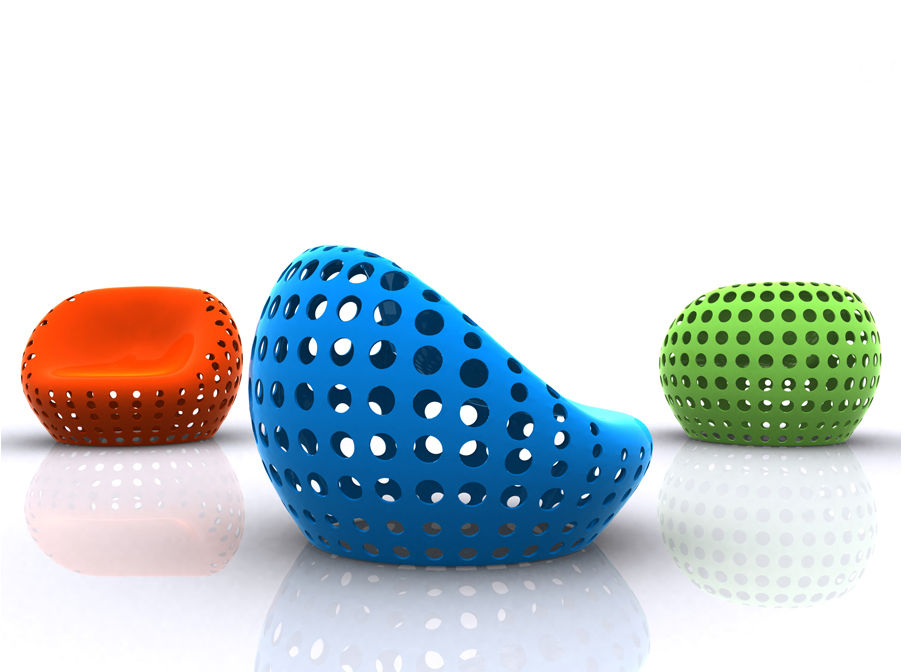 The   pOrOus   Plug-in Lounge Chair.           A user can install hardware such as music players, speaker, or even lamps, with an attaching device which works as an electrical outlet.         http://www.misosoupdesign.com