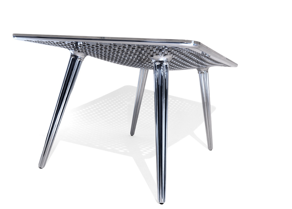 From German Designer Daniel Rohr, A Stunning Limited Edition Table Milled  Out Of Solid Aluminum