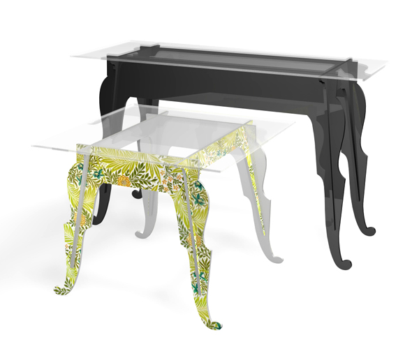 From OK Works, slot-together plywood nesting tables with graphics and lacquer finishes.   www.okworks.com