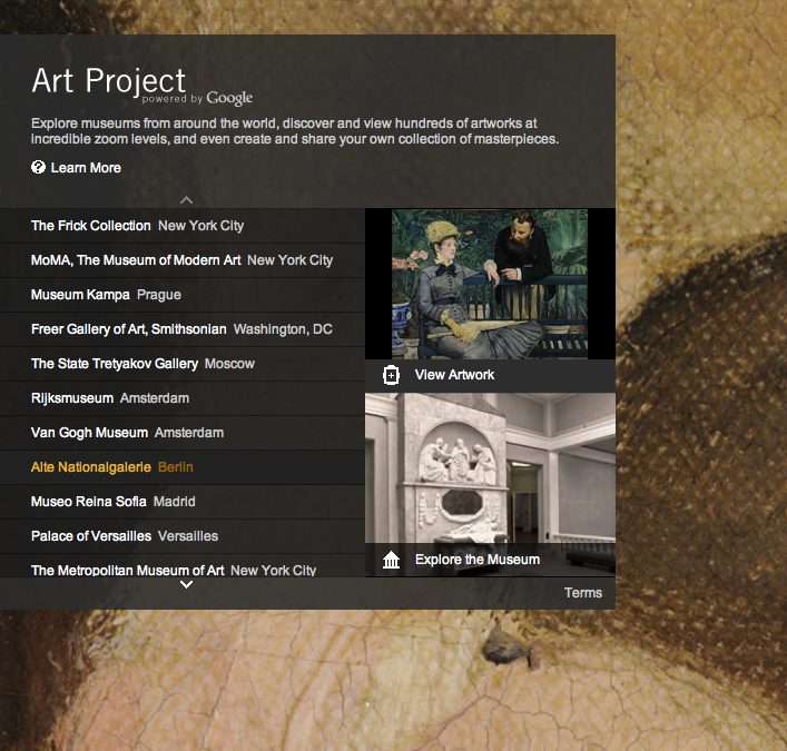 The Google Art Project, where you can examine master paintings up close from the comfort of your own home.  Visit:  www. googleartproject.com/