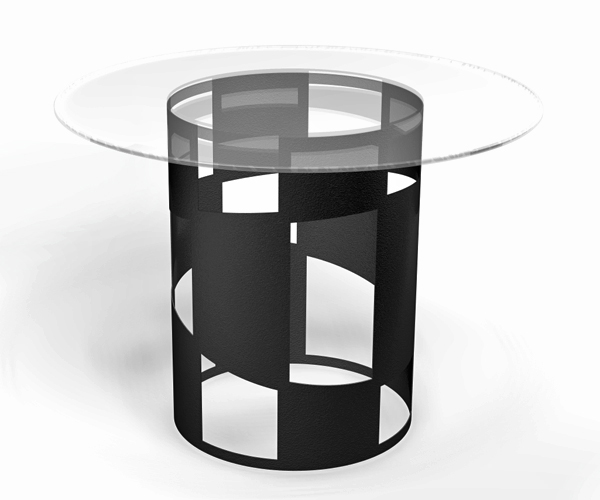 "From OK Works,  a feature table made from laser cut steel with powdercoated finish, 38"" x 3/8"" thick glass top.    www.okworks.com"