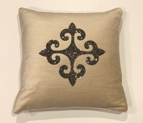Avalon Swarovski Crystal Rocks Fleur De Lis Pillow Soft Home