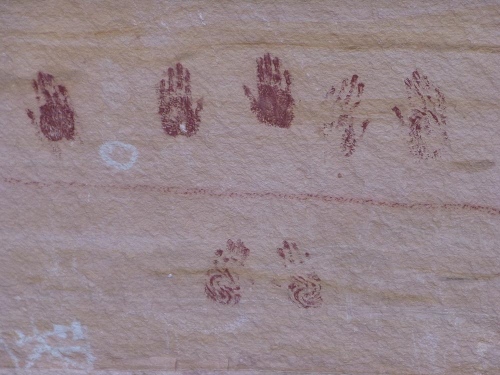 ancient puebloan hand prints in Natural Bridges National Monument, Utah