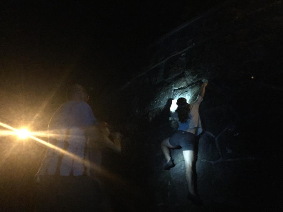 Night bouldering at Rocky Butte, Oregon