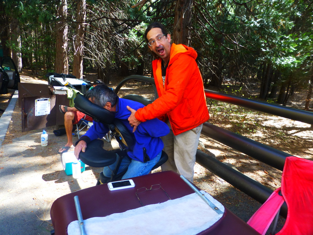 The Medicine Man, Mash, in his element on the El Cap bridge doing what he does best. Healing people through massage, humor, and great wisdom.