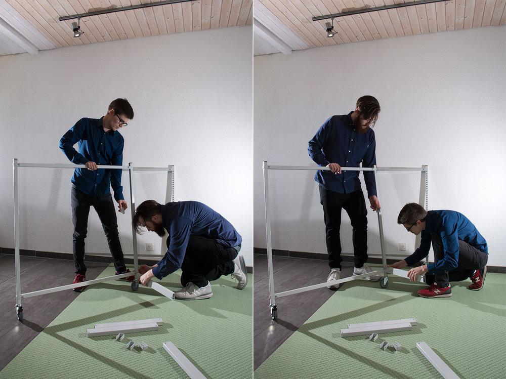 Indergand & Rauber beim Aufbau des Vereinslokals von  Art in Thalwil!  (Phase I, Mai 2015)
