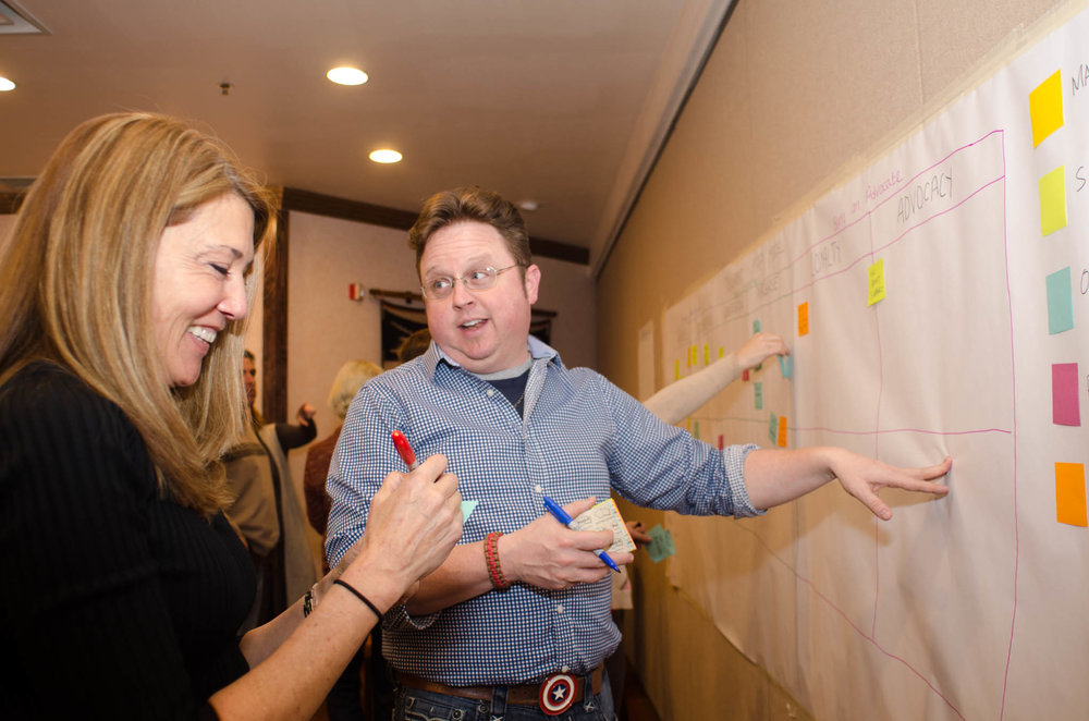 Kim Lawton and Keith Ostwald at the CX workshop,  Photo by Tom Miller