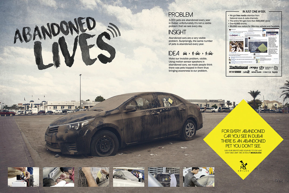 AWARDS CANNES LIONS 2016 SHORTLIST – Media DUBAI LYNX 2016 GOLD – Direct/Direct Strategy-Best low budget campaign GOLD – Media/Best use of media-Use of ambient media: small scale SILVER – Media/Use of media-Best use of audio platforms SILVER –Promo & Activation-Charities, Public health, safety & Awareness Messages BRONZE – Media/Product&Service-Charities, Public health, safety & Awareness Messages SHORTLIST – Grand Prix for Good