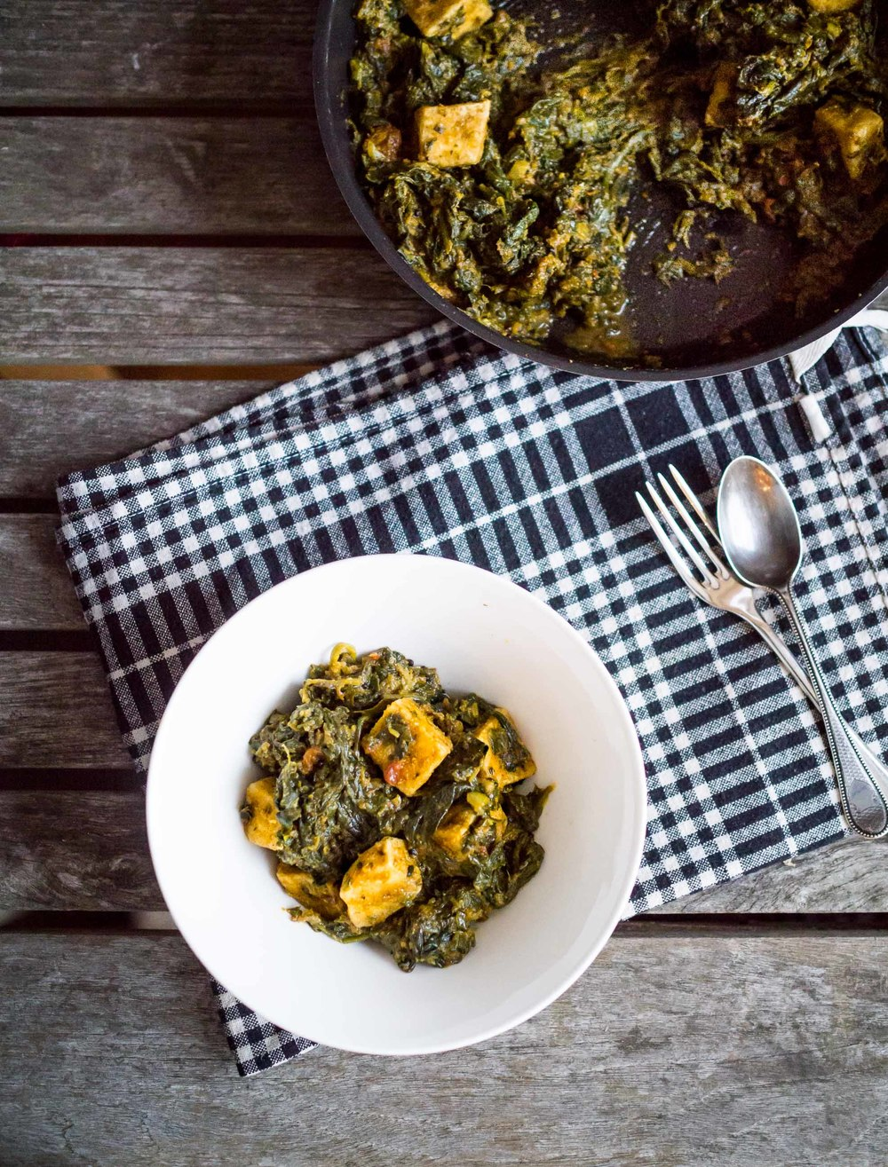 Bowl and pan of Saag Tofu | Indian Food | DiscoverDelicious