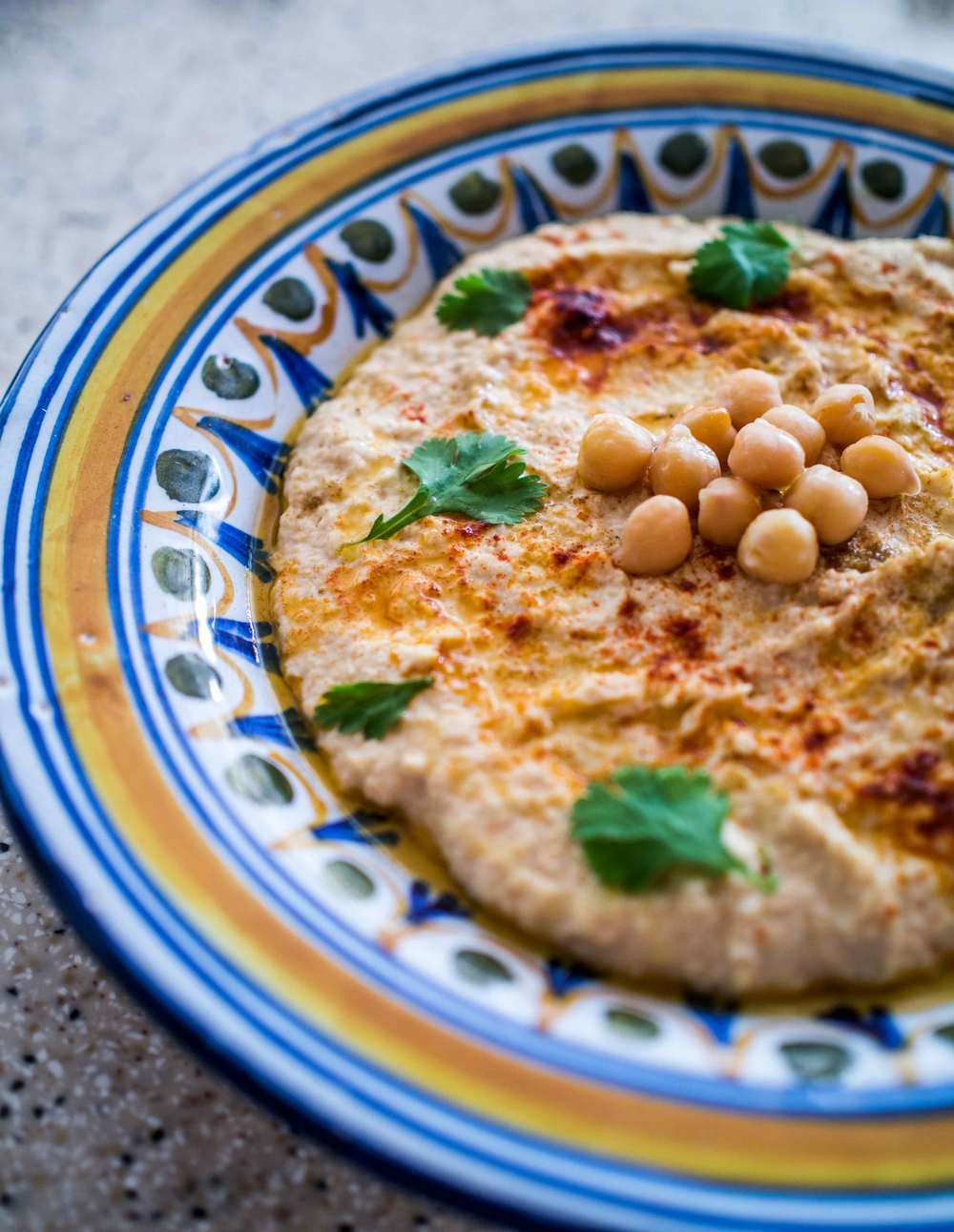 Hummus with garnish | Discover Delicious | Vegan Food Blog