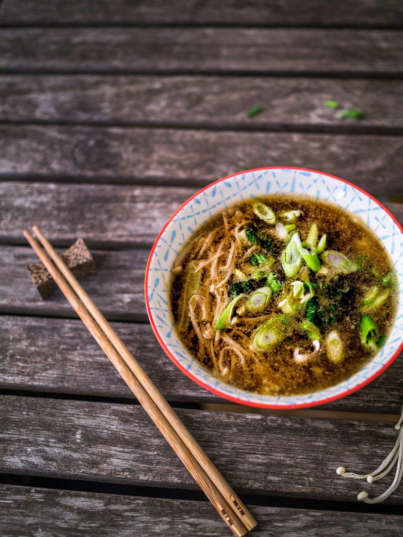 Enoki Mushroom Miso Soup | Discover Delicious | www.discoverdelicious.org | Vegan Food Blog