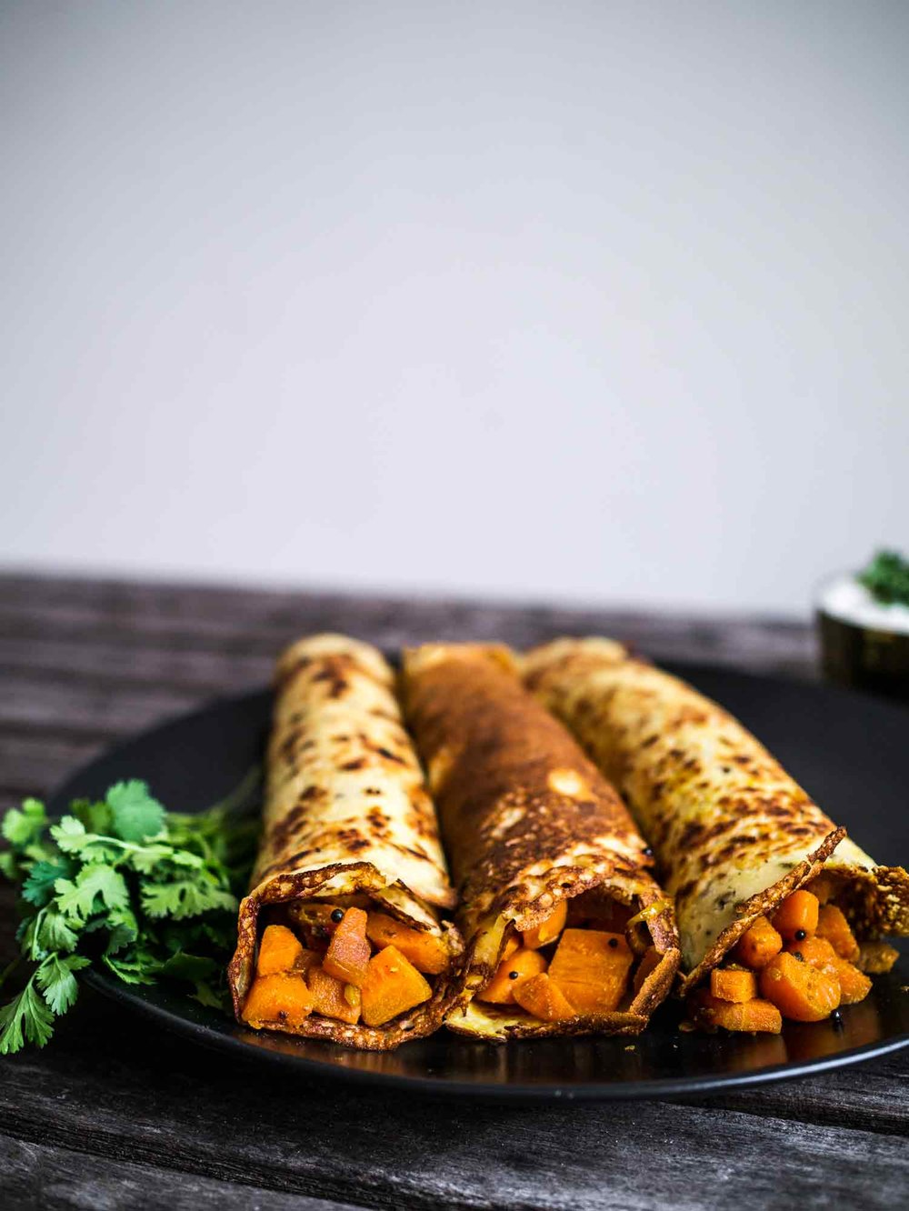 Indian Spiced Pancakes with Carrot filling | Discover Delicious | www.discoverdelicious.org | Vegan Food Blog