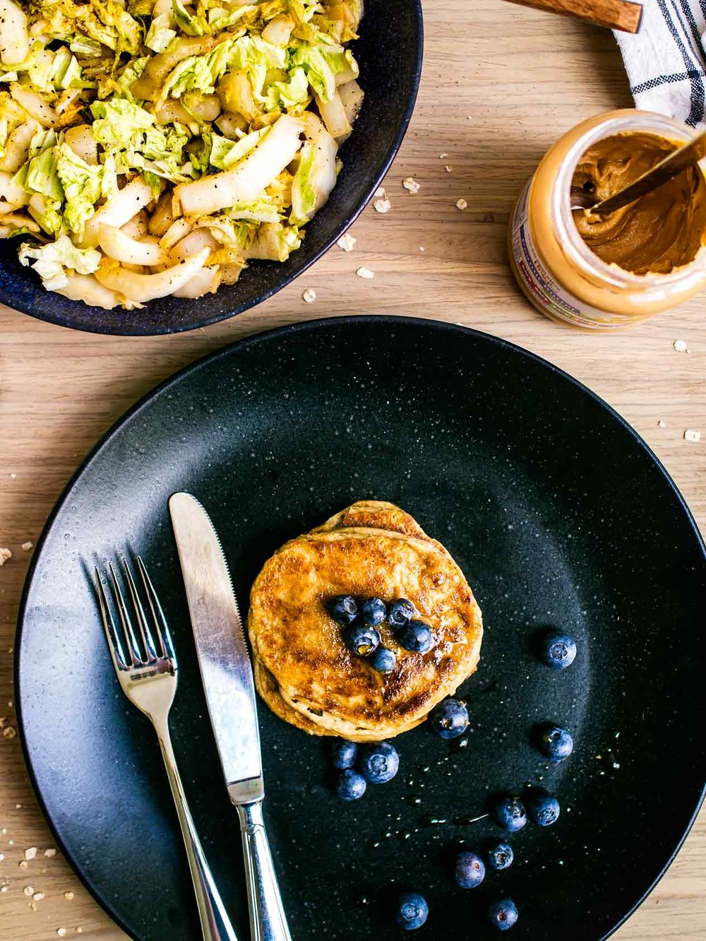Peanut butter oat banana pancakes + peanut butter cabbage | 4 peanut butter recipes, 4 ingredients each! | www.discoverdelicious.org | vegan food blog