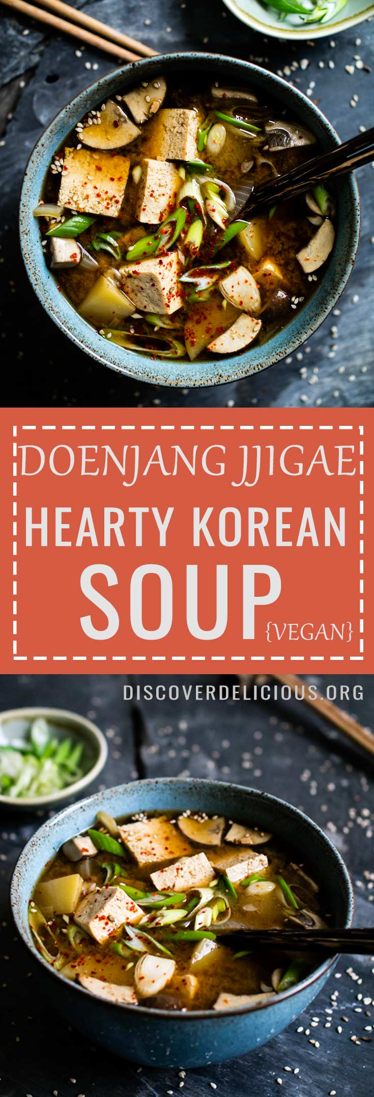 Doenjang Jjigae (hearty Korean soup). Popular Korean comfort food + vegan! Quick and easy to make. | Discover Delicious | www.discoverdelicious.org