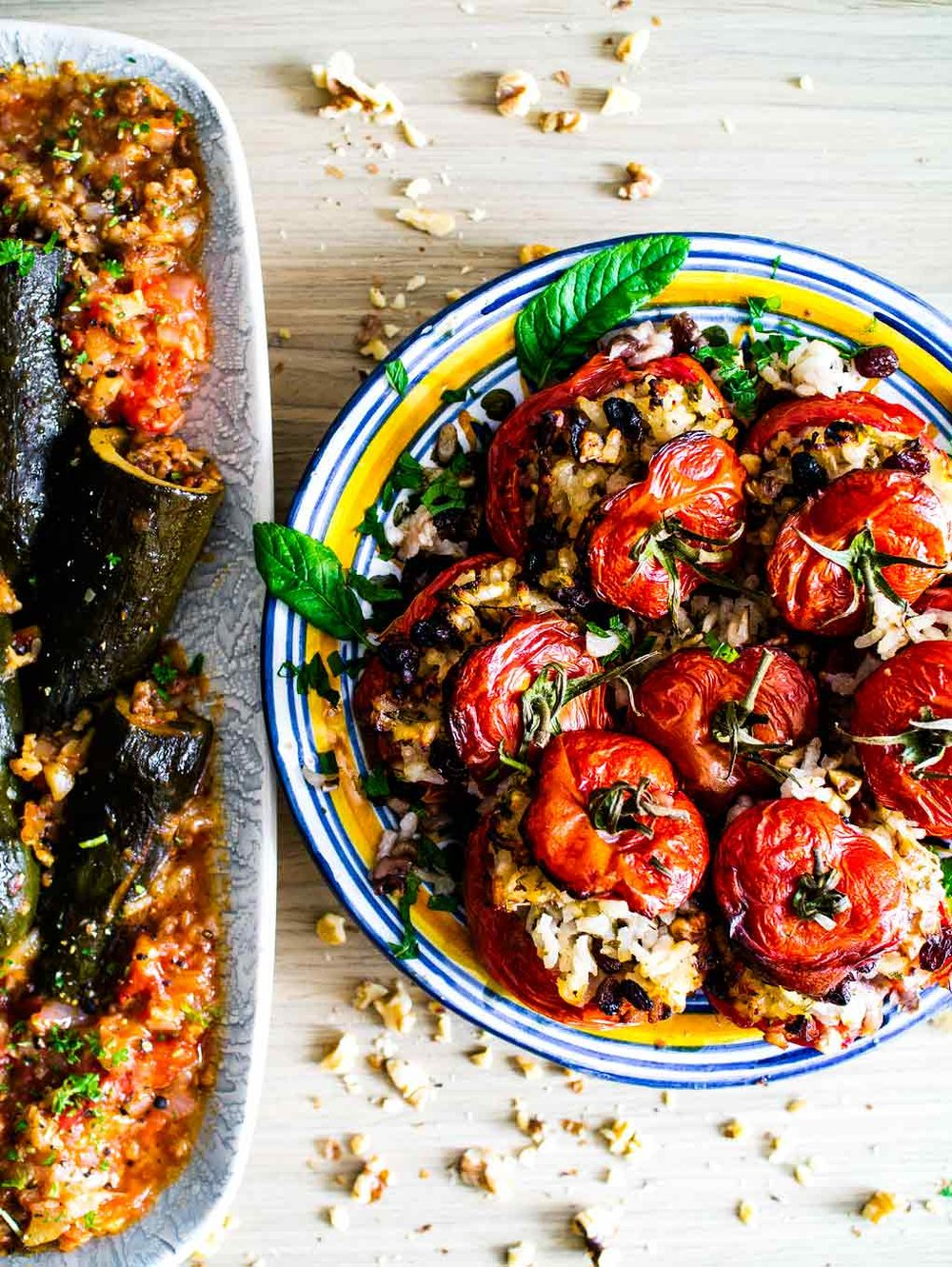 Israeli Stuffed Tomatoes and Courgettes | Vegan Recipe | Discover Delicious | www.discoverdelicious.org