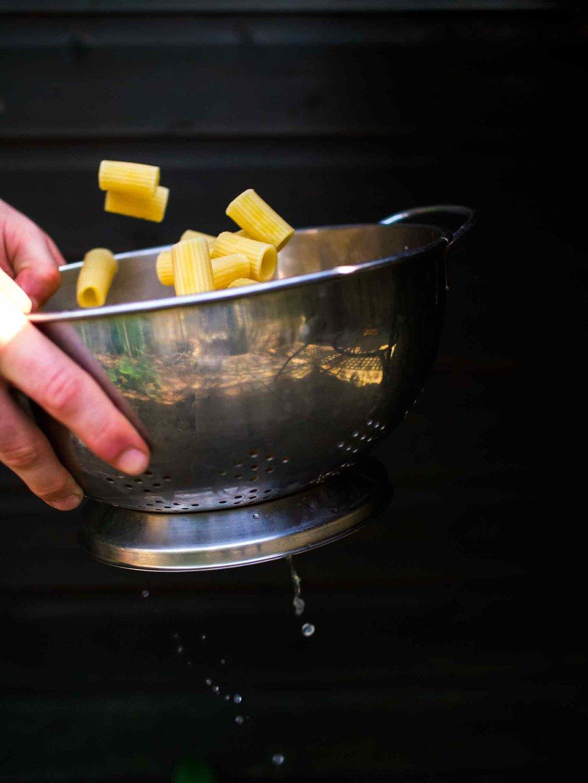 Rigatoni Pasta from Summery Vegetable Rigatoni Recipe -delicious light vegan pasta recipe w/tomato lentil sauce || #summer #zucchini #mushroom #vegetarian #recipes