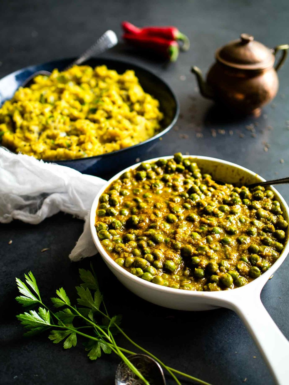 Curried Peas w/ Spiced Potato Mash = Mattar + Aloo Masala! Vegan Indian food at it's finest. Accidentally gluten free too! #curry #authentic #vegetarian #vegetable #recipes #recipe #sides #spicy #glutenfree