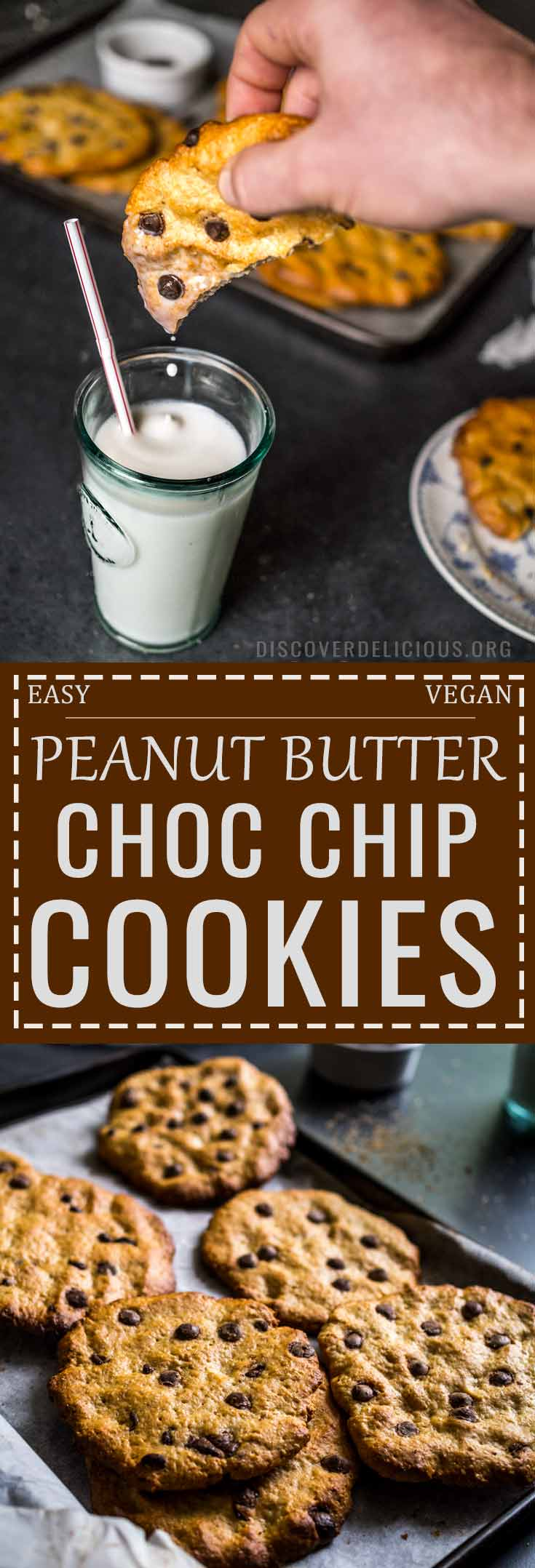 These soft and gooey Peanut butter + Chocolate Chip Cookies are soft, indulgent, easy to make and 100% vegan! No obscure ingredients either. #cookie #recipes #easy #recipe #choc #oats #chewy #crunchy #oatmeal #eggless