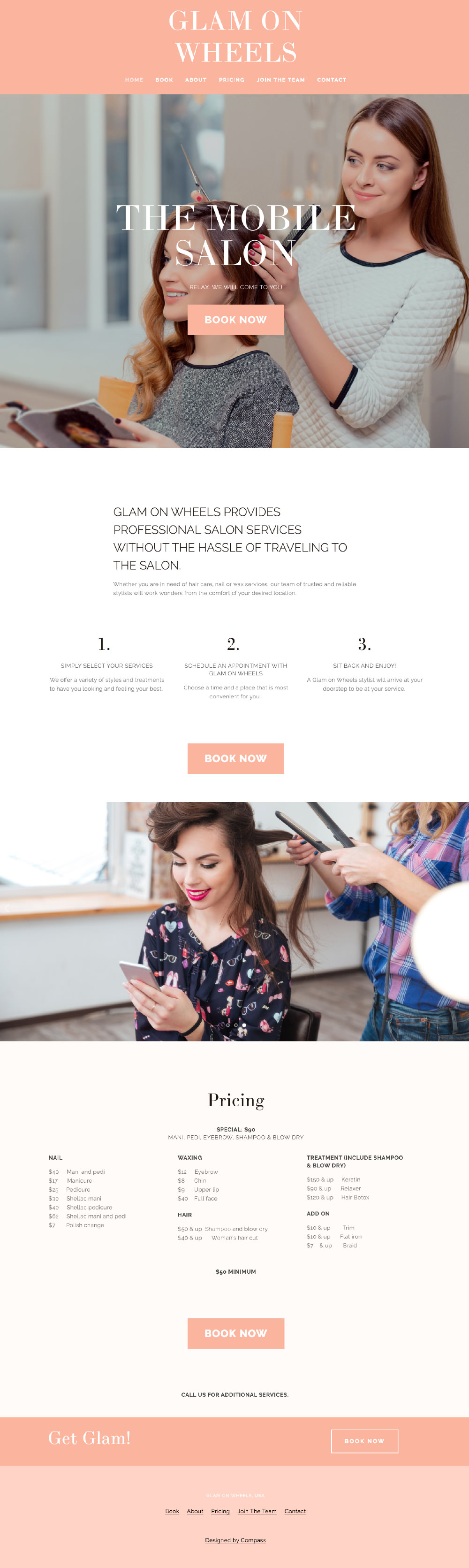 Live Site Glam On Wheels Business Salon Template Pacific